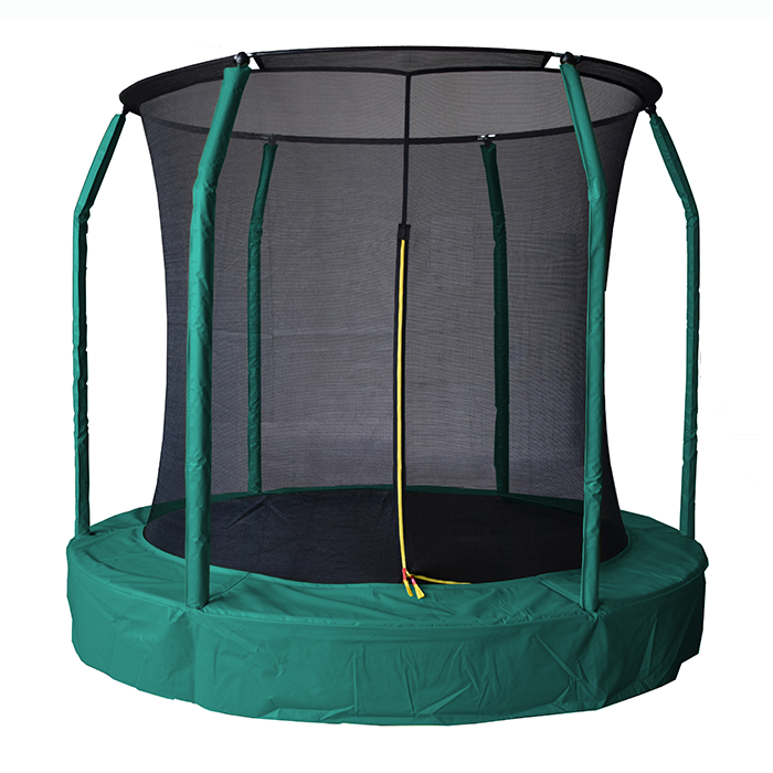 Image of Air League 10ft In Ground Sunken Trampoline With Safety Enclosure Green